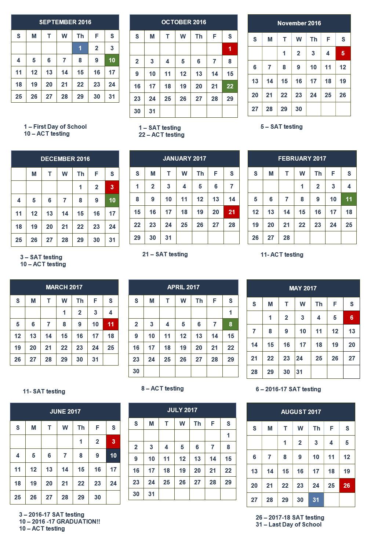 Whitmore School academic calendar 2016/2017