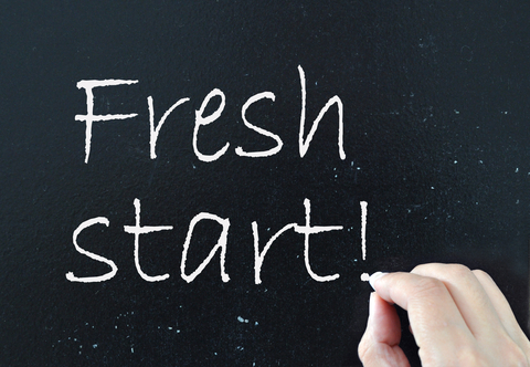 Fresh Start written on chalk board