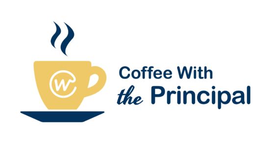 Coffee with the principal logo