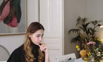 teen working on laptop